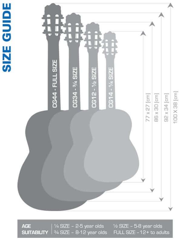 Guide des tailles de Guitares par âges